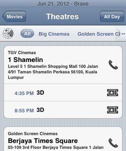 Cinema Listing of a Movie