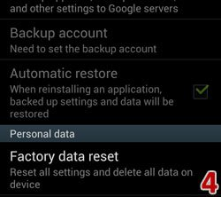 Factory Data Reset