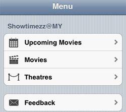 Showtimezz Main Menu