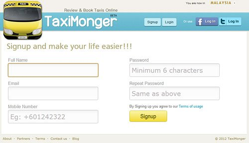 Taxi Monger Sign Up Page