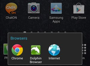 Icons in Browsers Folder in Dock Area