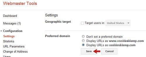 Select Non www Preferred Domain