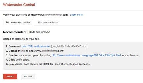 Webmaster Verify www