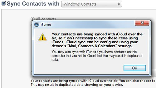 iCloud Contact Sync Prompt