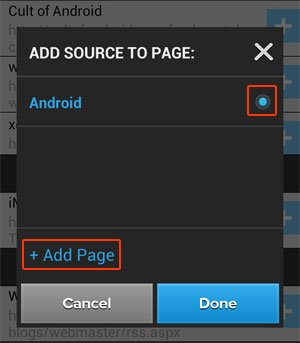 Add Source to Page Screen
