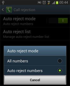 auto reject mode