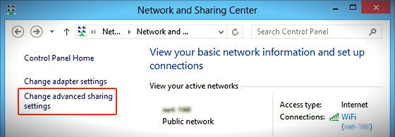 network and sharing center