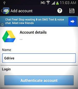 add account screen