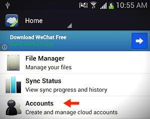 foldersync accounts option