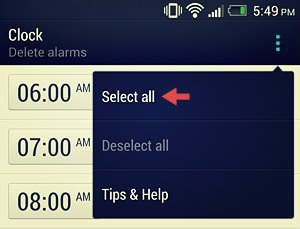 htc one alarm clock select all option