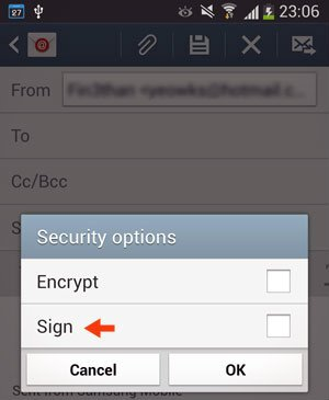 outgoing email security option