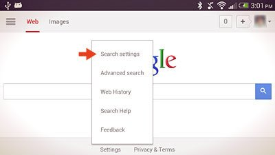 search settings option