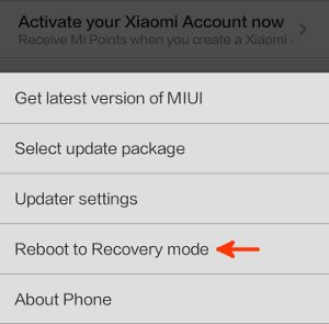 reboot to recovery mode