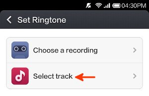 set ringtone screen