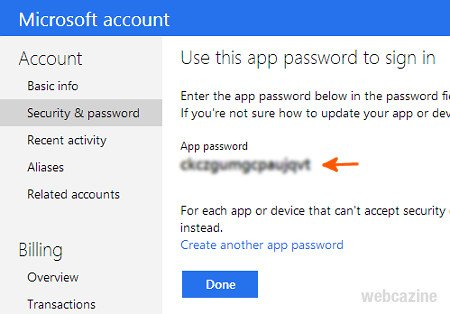microsoft app password