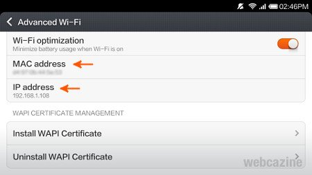 How to find the MAC and IP addresses of your Xiaomi Mi 3 ? - WEBCAZINE