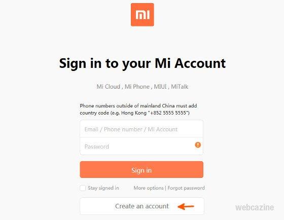 create a micloud account_1