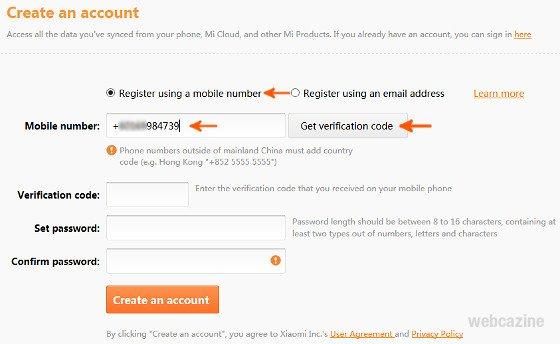 create a micloud account_2