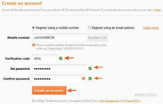 create a micloud account_3