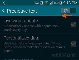 s5 predictive text