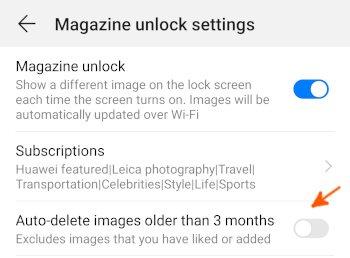 Mate10 Magazine unlock settings