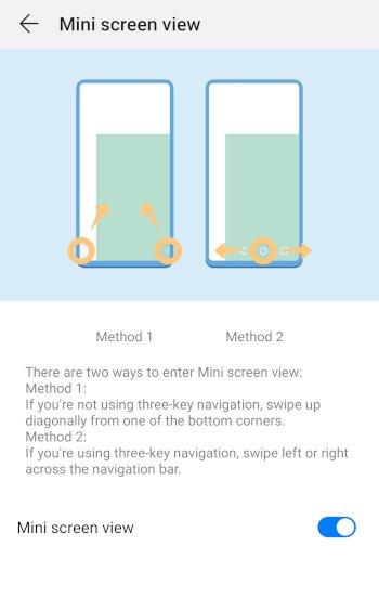 Mate10 mini screen view option