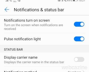 Notification turn on screen