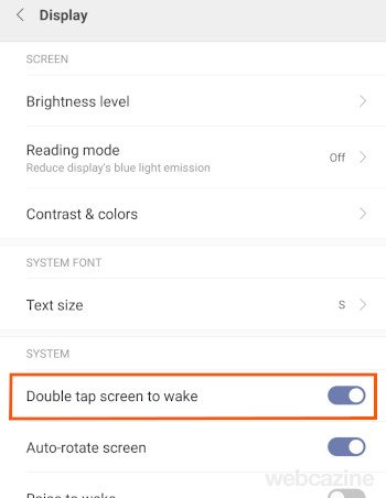 double tap screen to wake