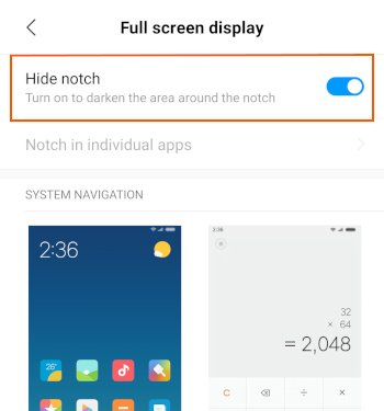 PocoF1 the hide notch option