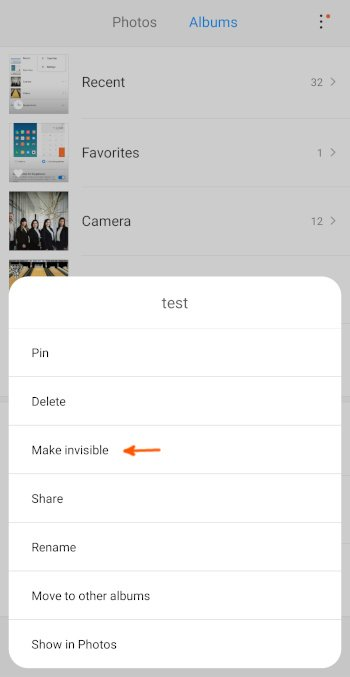 Mi9 Hide Album option