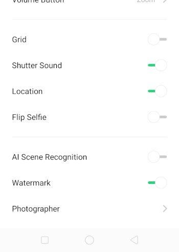 OppoReno Camera-AI Scene Recognition Option