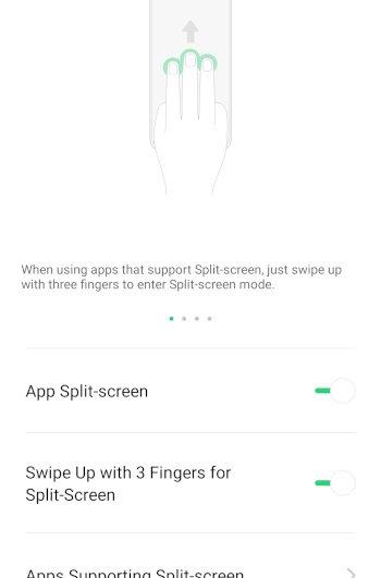 3 finger swipe for split screen