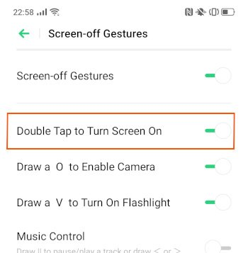 Double tap to turn screen on option
