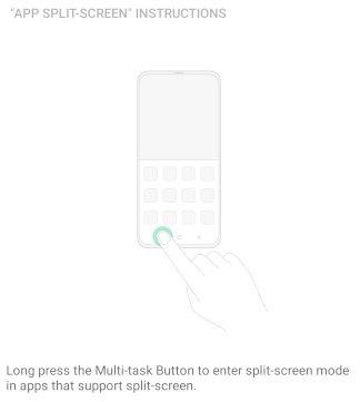 Multi-task button to split screen