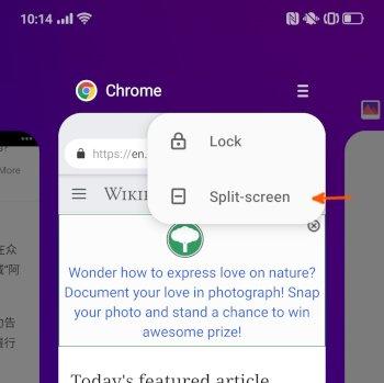 Split screen option on recent app view