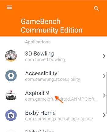 Gamebench game start