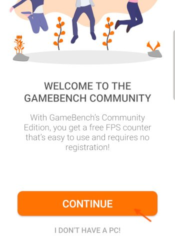 Gamebench Welcome Screen