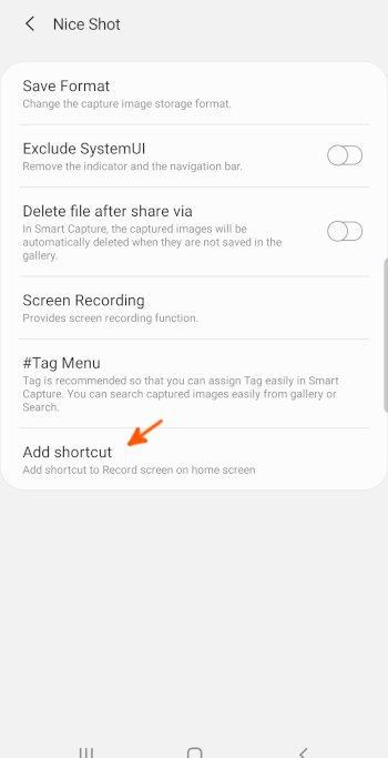 Samsung Nice Shot_Add Shortcut option