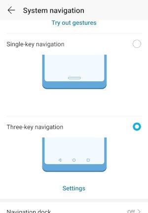 HonorPlay Three Key Navigation